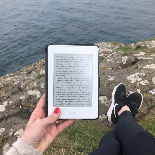 reading at the Carrick-a-Rede rope bridge
